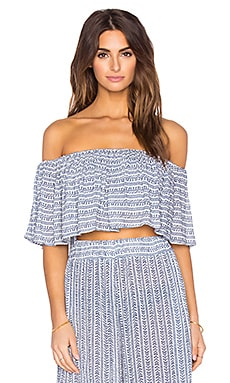 Mara Hoffman Off Shoulder Ruffle Crop Top in Pinwheel Cobalt