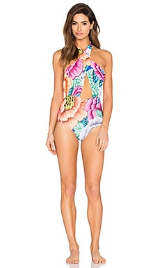 Cross Front Halter One Piece Swimsuit