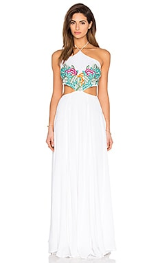 Embroidered Halter Maxi Dress en Broderie Feuillage