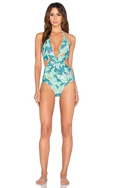 Twist One Piece Swimsuit in Leaf