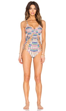 Mara Hoffman Lattice One Piece Swimsuit in Flight Sand