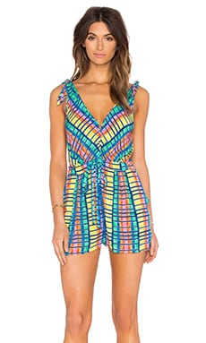 Mara Hoffman Tie Shoulder Romper in Flight Rainbow