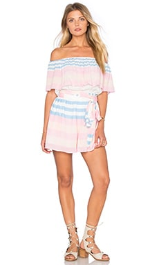Mara Hoffman Off The Shoulder Romper in Field Stripe