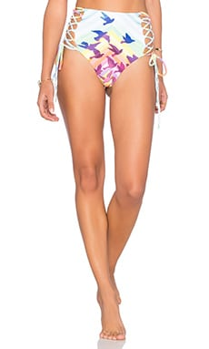 Lace Up High Waisted Bikini Bottom in Prismatic