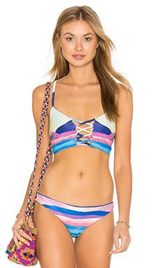 Mara Hoffman Lace Up Longline Bikini Top in Landscape