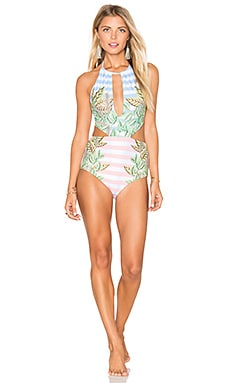 Wheatfield Slit Front One Piece Swimsuit en Blanco & Azul