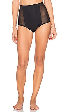 Mesh Side High Waist Bottom en Noir