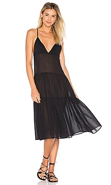 Tiered Ankle Dress em Preto