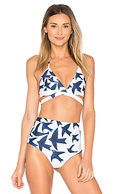 Wrap Around Tri Top in Navy White