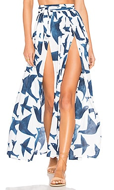Slit Front Skirt in Navy White