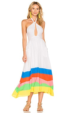 Halter Midi Dress in Rainbow Multi
