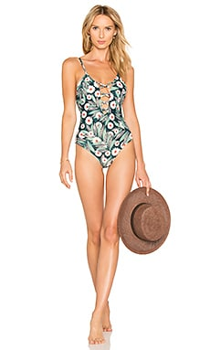 Criss Cross Front One Piece in Dark Green