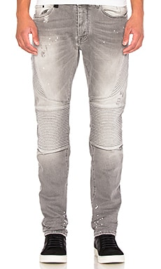 Biker Slim Denim in Light Grey
