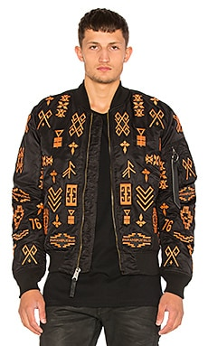 Marcelo Burlon Alpha MA-1 Jacket in Black & Orange