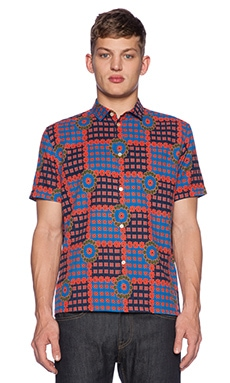 Marc by Marc Jacobs Patchwork Flower Button Down in Orange Glow Multi
