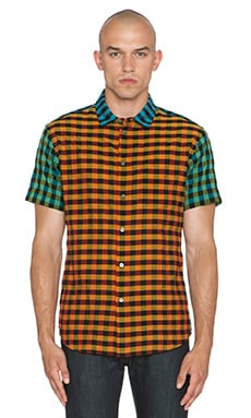 Marc by Marc Jacobs Karl Plaid Combo Button Down in Orange Multi