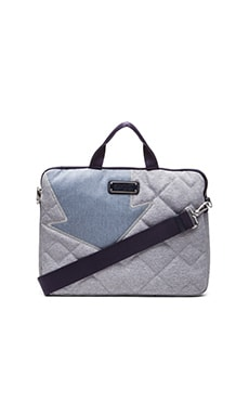 Marc by Marc Jacobs Crosby Quilt Denim 13' Computer Bag in Pacific Ocean Chambray
