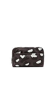 Marc by Marc Jacobs Canvas Printed Leopard Max Cosmetic Bag in Gunmetal Multi