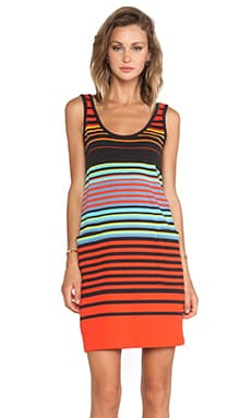 Paradise Stripe Jersey Tank Dress in Black Multi