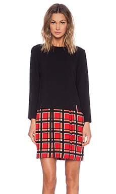 Marc by Marc Jacobs Toto Plaid Long Sleeve Dress in Cambridge Red Multi