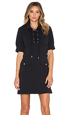 Marc by Marc Jacobs Double Pocket Tie Neck Mini Dress in Black