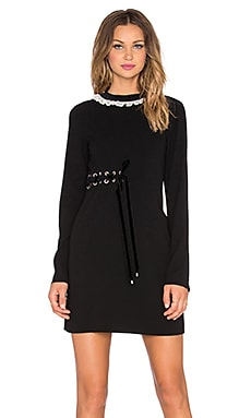Marc by Marc Jacobs Irving Tie Side Long Sleeve Dress in Black Multi