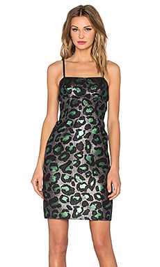Marc by Marc Jacobs Leopard Lurex Mini Dress in Green Multi