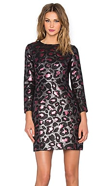 Leopard Lurex Shift Dress in Fuschia Multi