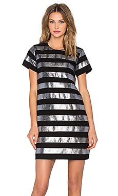 Lame Shift Dress in Black Multi