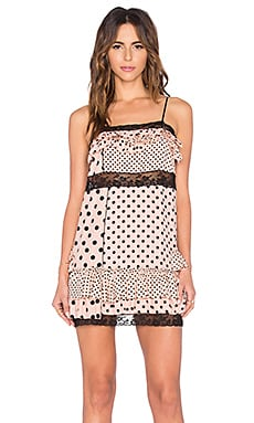 Viscose Polka Dot Mini Dress in Nude Peach Multi