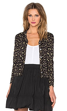 Marc by Marc Jacobs Leopard Lurex Jacquard Cardigan in Gold Multi