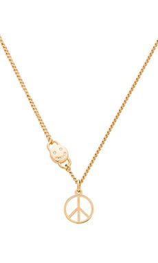Marc by Marc Jacobs Peace Sign Necklace in Talc
