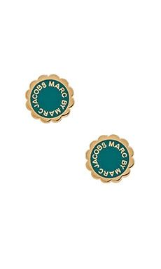 Marc by Marc Jacobs Enamel Disc-O Stud Earrings in Wintergreen