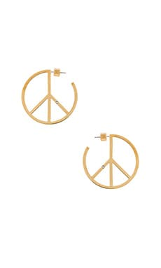 Marc by Marc Jacobs Peace Out Hoop Earrings in Oro