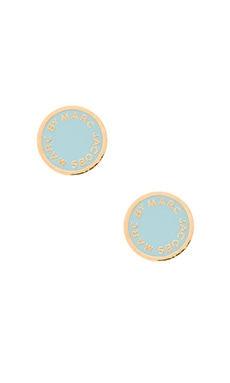 Marc by Marc Jacobs Enamel Logo Disc Studs in Sea Aqua
