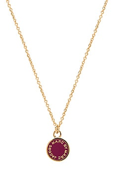 Marc by Marc Jacobs Logo Disc-O Enamel Disc Pendant Necklace in Garnet