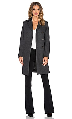 Marc by Marc Jacobs Norman Flap Pocket Wool Coat in Caviar Grey Melange