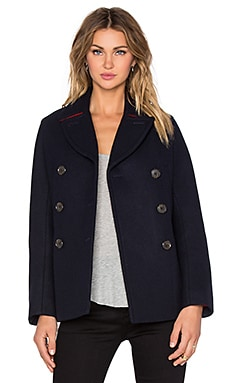 Norman Bonded Wool Coat in General Navy