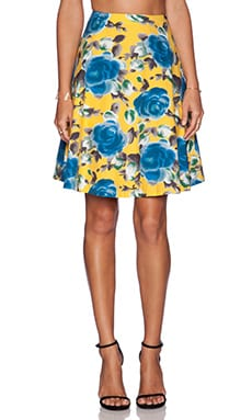 Marc by Marc Jacobs Jerrie Rose Poplin Skirt in Yellow Jacket Multi