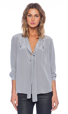 Marc by Marc Jacobs Silk Tie Front Blouse in Gull
