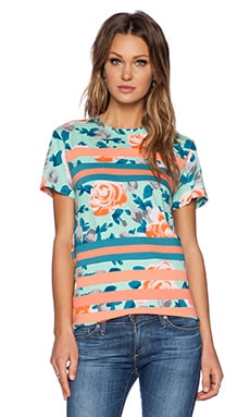 Marc by Marc Jacobs Jerrie Rose Patchwork Tee in Pale Jade Multi