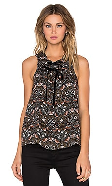 Marc by Marc Jacobs Strawberry Thief Tie Front Tank in Muted Olive Multi