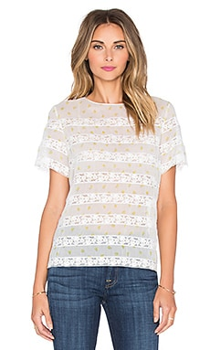 Lemon Pindot Voile Top in Off White Multi