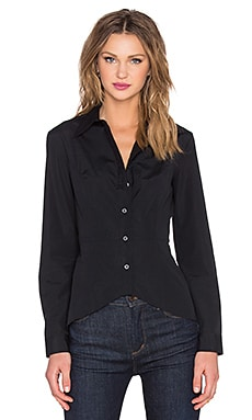 Button Up Long Sleeve Top in Black
