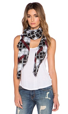 Marc by Marc Jacobs Diagonal Plaid Scarf in Black Multi