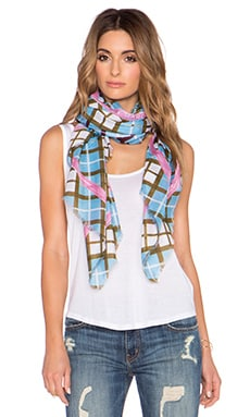 Marc by Marc Jacobs Diagonal Plaid Scarf in Robin Blue Multi