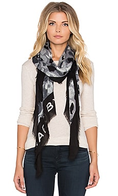 Marc by Marc Jacobs Graffiti Leopard Scarf in Black Multi