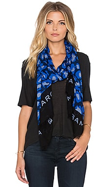 Marc by Marc Jacobs Painted Leopard Scarf in True Blue Multi