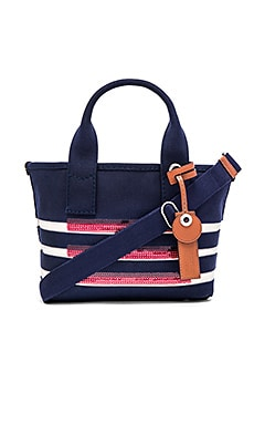 St Tropez Small Tote in New Prussian Blue & Ecru