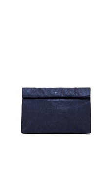 Marie Turnor Lunch Clutch in Navy Foil